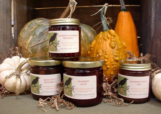 Mincemeat, Cranberry Peach Jam, Cranberry Raspberry Preserves, and our own very special Cranberry Sauce