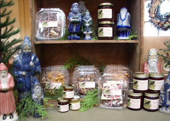 Salt glazed pottery santas with Christmas treats!